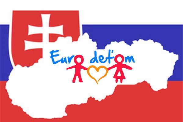 Mapa Slovenska s logom Euro deťom